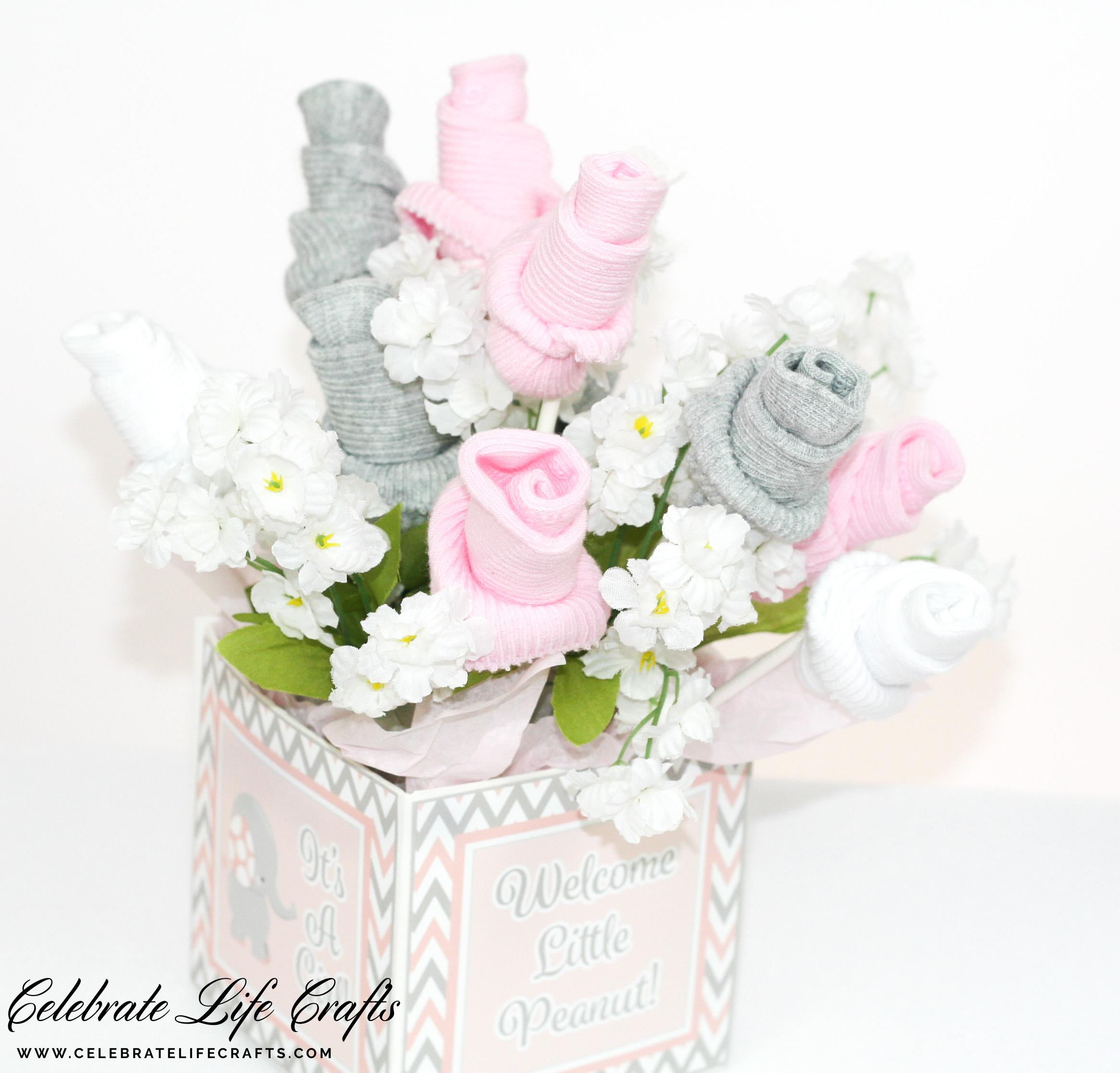 Pink Little Peanut Elephant Baby Shower Celebrate Life Crafts Pink And Gray  Baby Sock Bouquet Baby