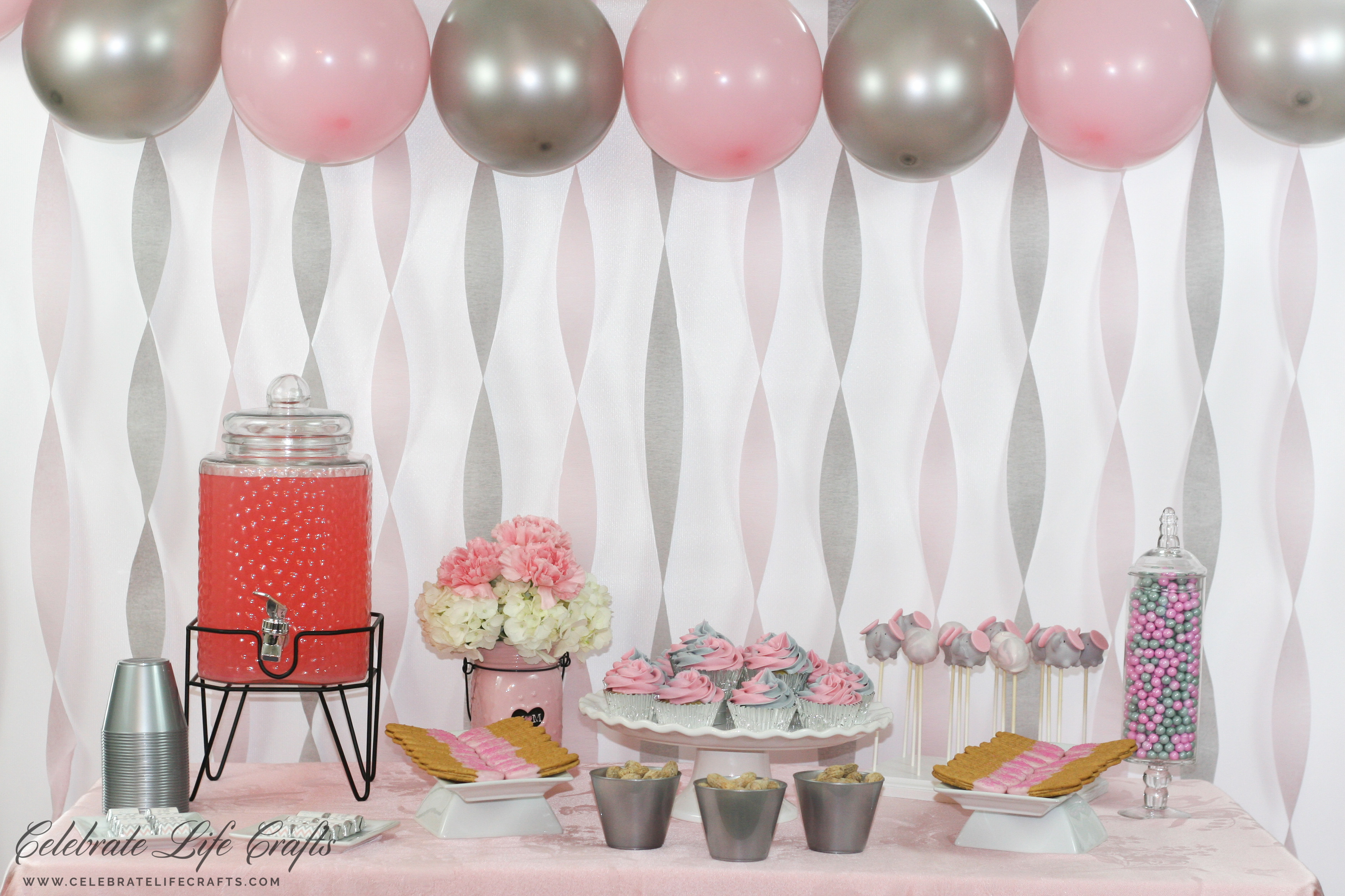 Pink And Gray Elephant Baby Shower Dessert Table