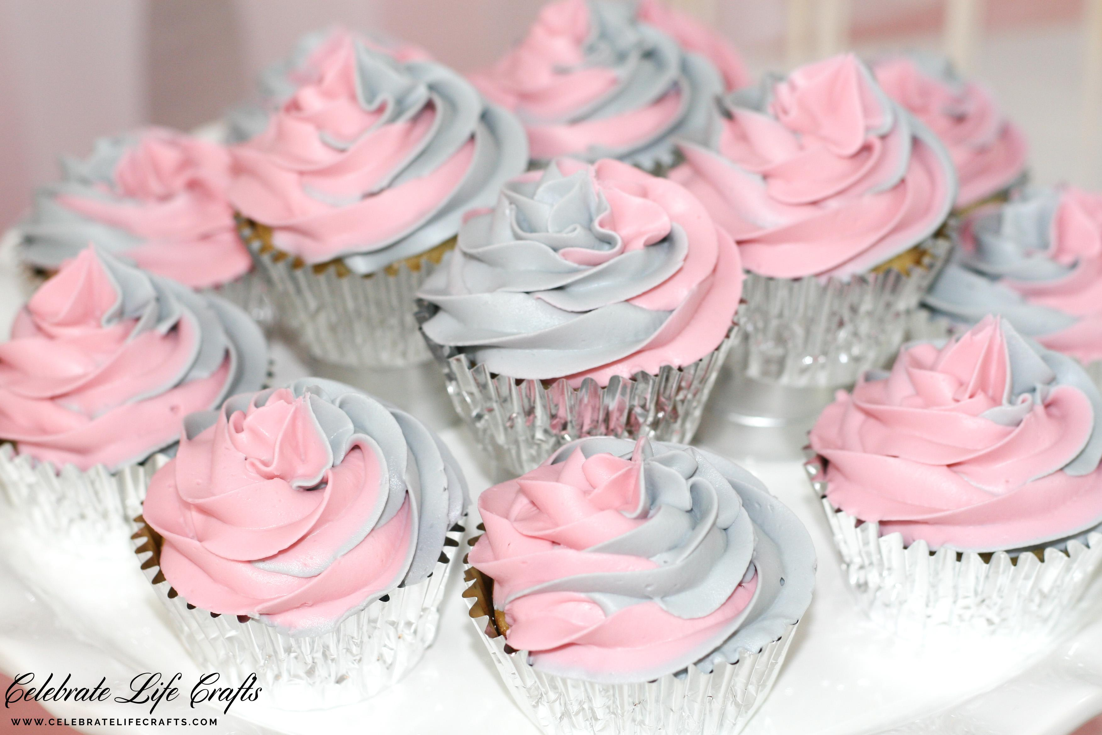 Pink And Gray Swirled Cupcakes For Girl Baby Shower | Baby Shower Ideas