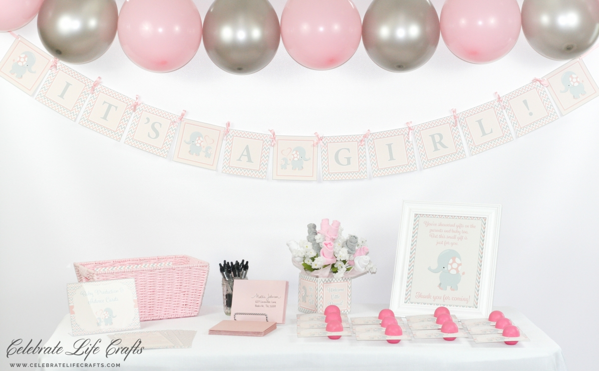 I Am So Excited To Share This Pink Elephant Baby Shower Theme With You!  This Design Features The Most Adorable Baby Elephant In A Baby Pink And  Gray Color ...